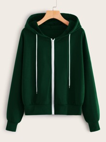 Zip Up Drawstring Hooded Sweatshirt