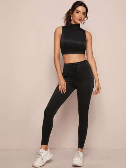 Solid Slim Top & Drawstring Waist Leggings Set