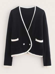 Pocket Front Contrast Binding Cardigan