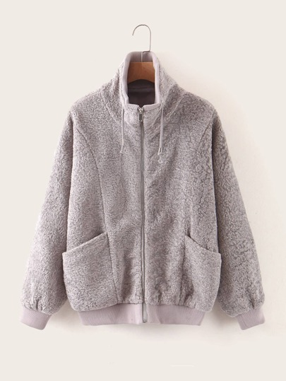 Funnel Neck Drawstring Teddy Jacket