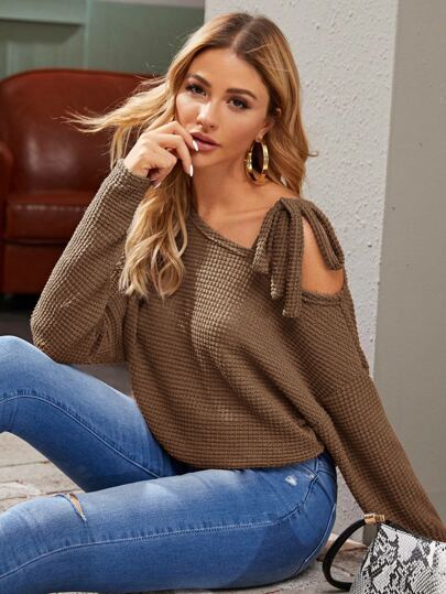 Solid Knot Drop Shoulder Sweater