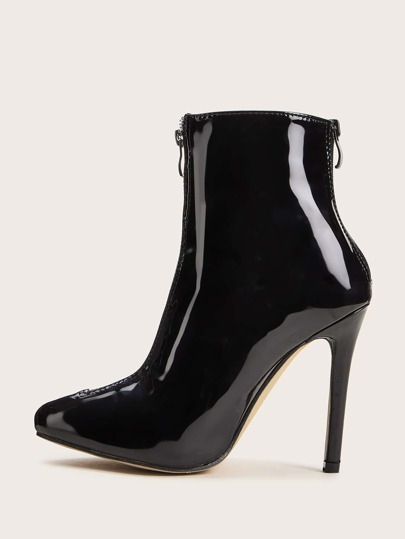 Patent Zip Decor Point Toe Stiletto Heeled Boots