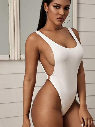 Rib Ring Linked One Piece Swimsuit