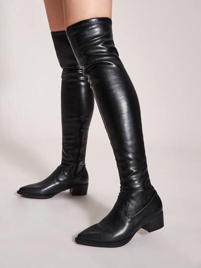 Over The Knee Point Toe Chunky Boots