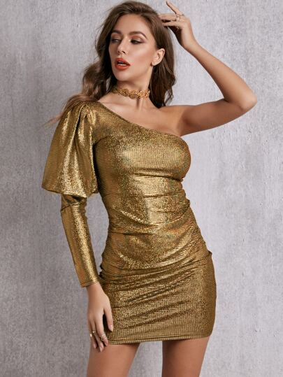 SBetro One Shoulder Gigot Sleeve Metallic Bodycon Dress