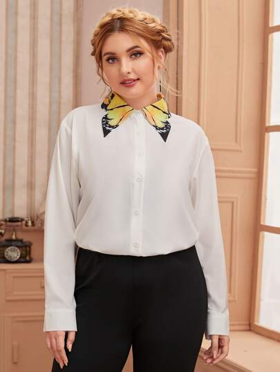 Plus Contrast Collar Graphic Blouse