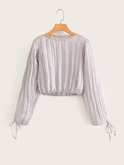 Knotted Cuff Plisse Crop Blouse