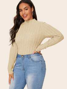 Plus Mock Neck Ribbed Knit Sweater