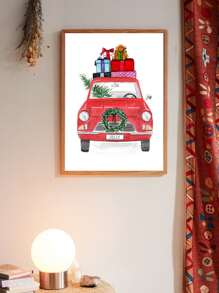 Christmas Gift Car Wall Print Without Frame