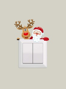Christmas Santa Claus & Elk Print Switch Sticker