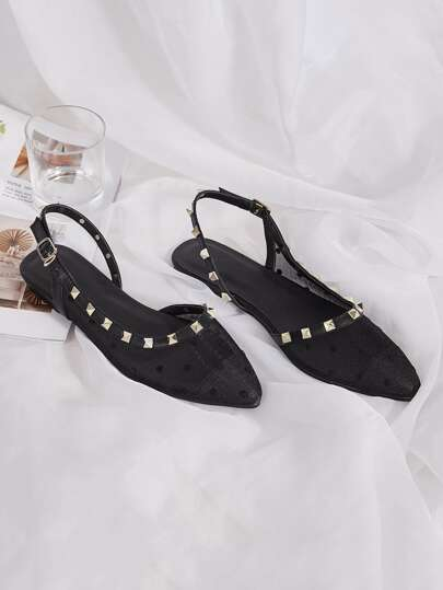 Studded Decor Polka Dot Slingback Flats