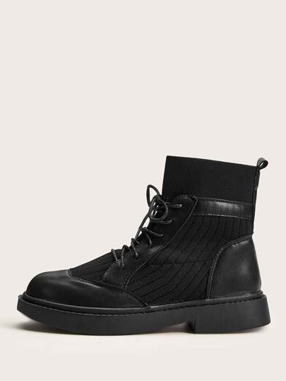Knit Panel Lace-up Front Ankle Boots