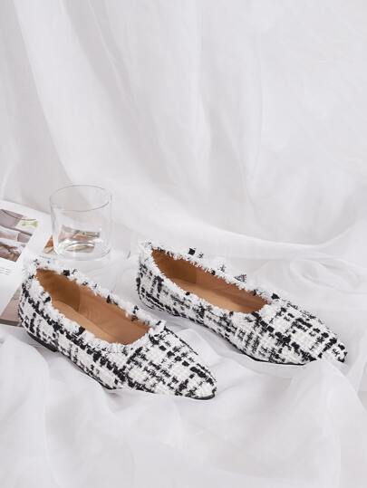 Point Toe Tweed Flats