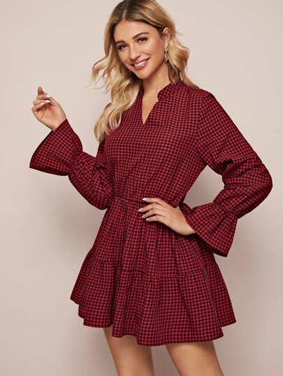 Gingham Flounce Sleeve Swing Ruffle Hem Dress