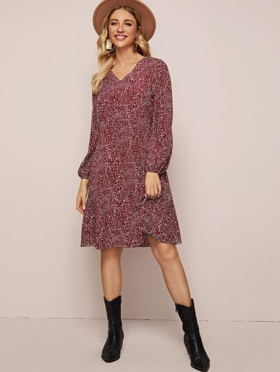 V-Neck Dalmatian Print Tunic Dress