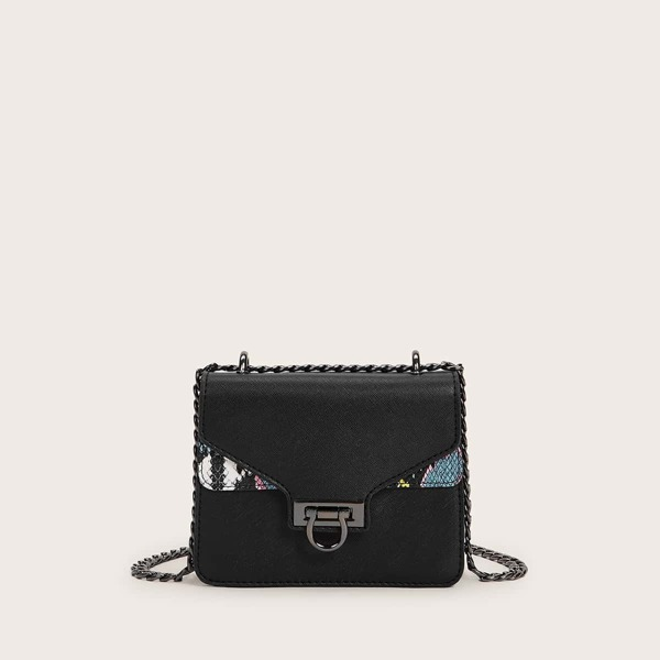 Contrast Snakeskin Print Flap Chain Crossbody Bag, Black
