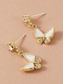 1pair Rhinestone Engraved Butterfly Drop Earrings