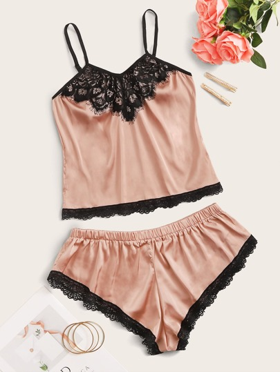 Lace Trim Satin Cami Top With Shorts Lingerie Set