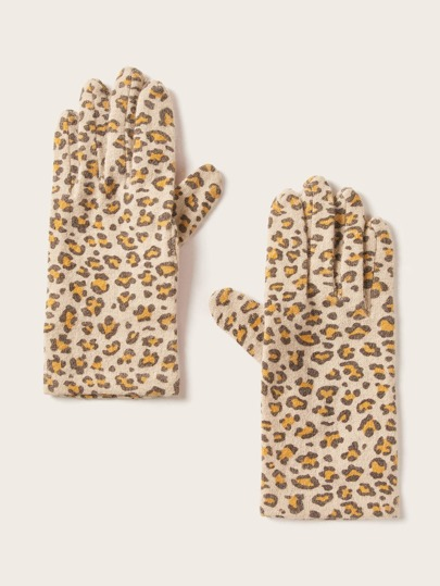 1pair Leopard Pattern Gloves