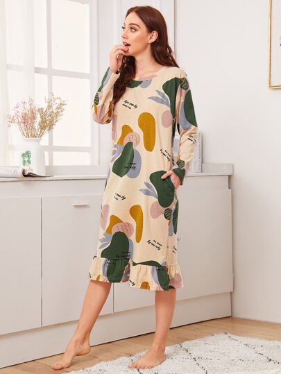 Colorblock Fruit Print Ruffle Trim Night Dress