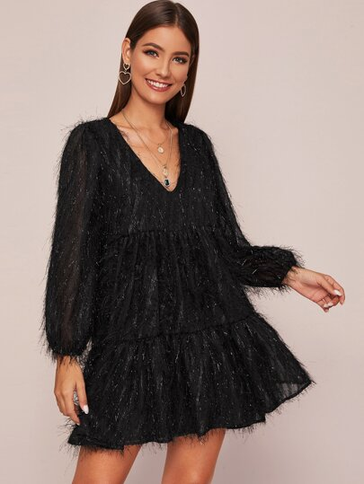 Solid V-Neck Shaggy Dress