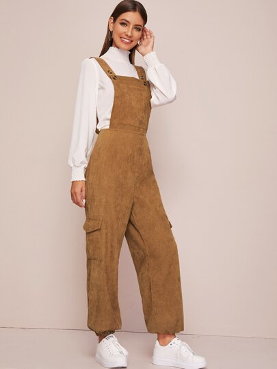 Solid Carrot Corduroy Overall Jumpsuit