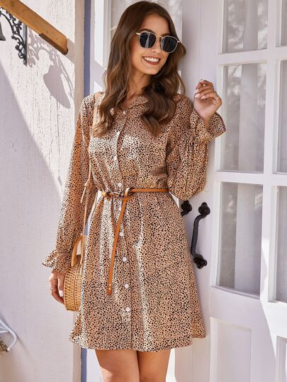 All Over Print Flounce Sleeve Shirt Dress