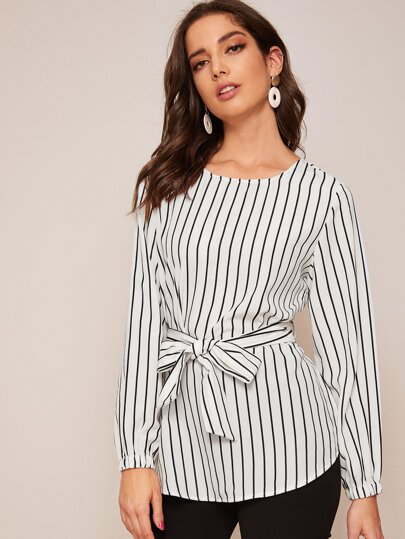 Vertical Striped Self Tie High Low Blouse