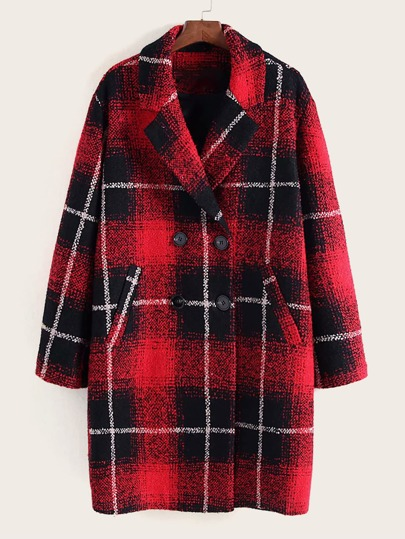 Plaid Lapel Collar Tweed Coat
