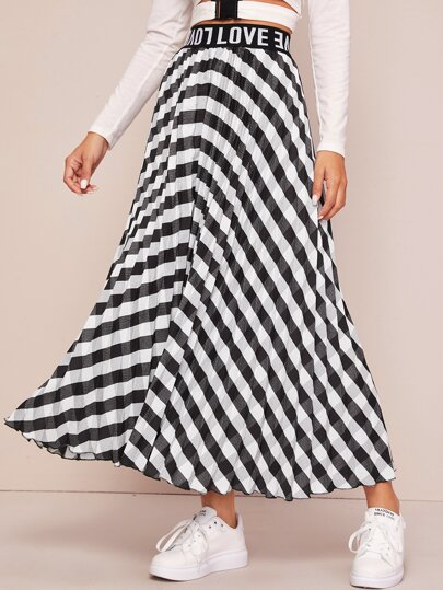 Striped Letter Graphic Elastic Waist Skirt