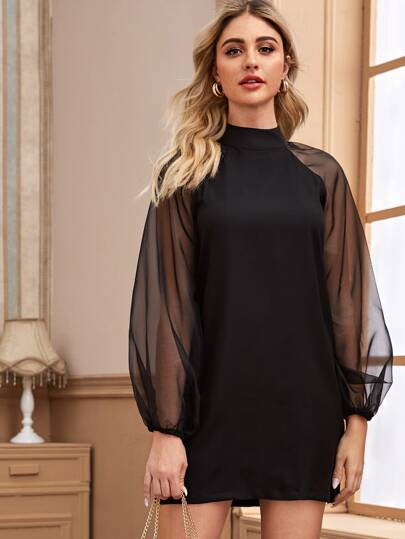Tie Back Contrast Mesh Raglan Sleeve Dress
