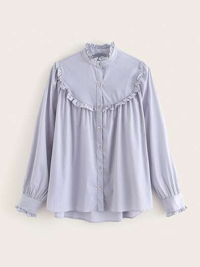 Frill High Low Button Up Blouse