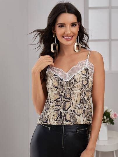 Contrast Lace Snakeskin Cami Top