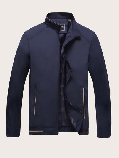 Men Funnel Neck Zip Through Jacket