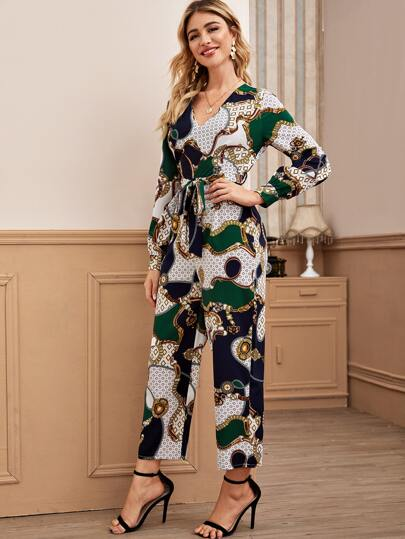 Chain And Geo Print Self Tie Jumpsuit