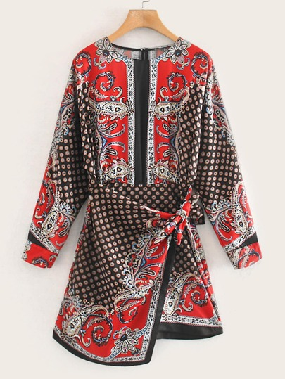 Scarf Print Tie Wrap Dress