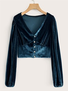 V-Neck Button Front Velvet Crop Tee