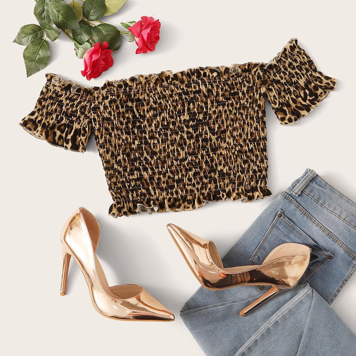 Топ с открытыми плечами, леопардовым принтом и складкой