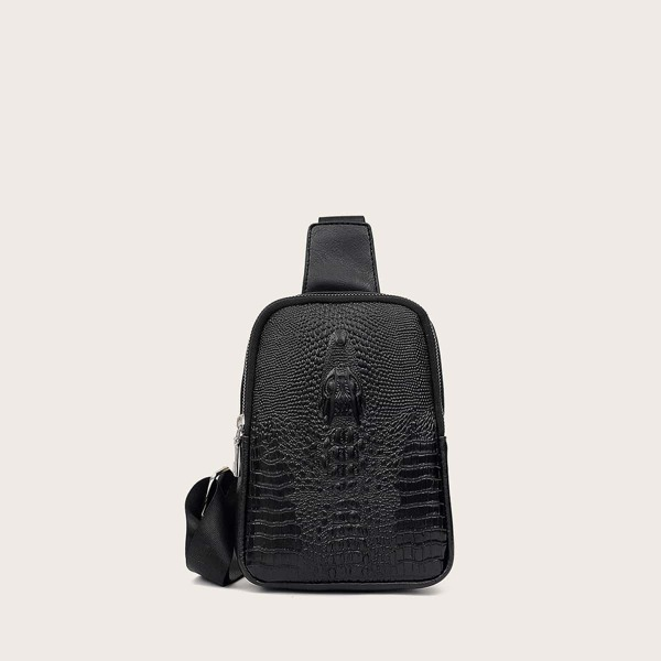 Men Croc Embossed Sling Bag, Black