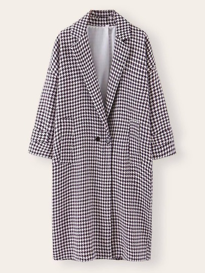 Double Button Houndstooth Print Wool-Mix Coat