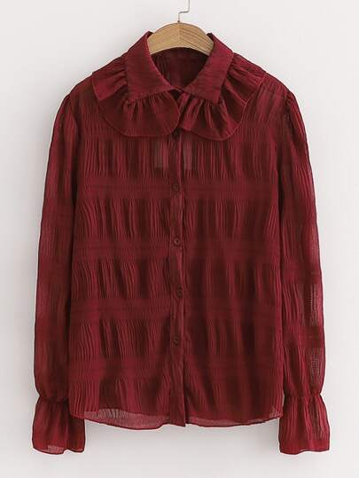 Ruched Flounce Sleeve Button Up Blouse
