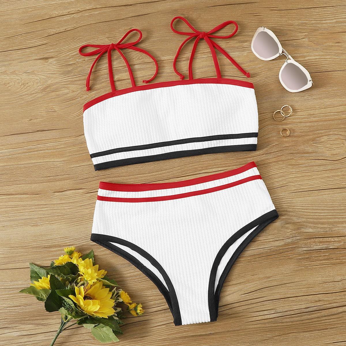 Bikini-Set mit Rippenkontrastbindung und hoher Taille