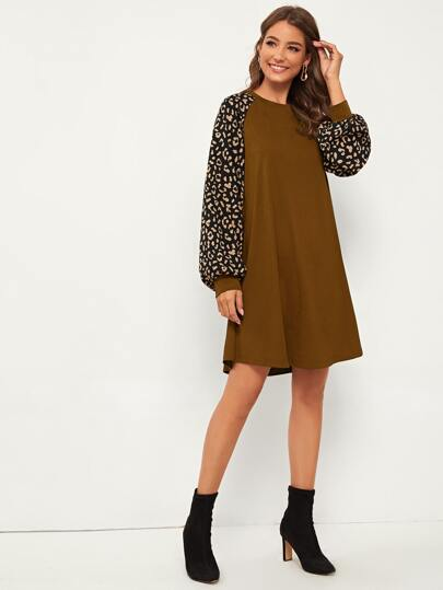 Contrast Leopard Lantern Sleeve Tee Dress