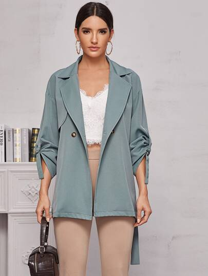 Roll Up Sleeve Lapel Collar Belted Coat