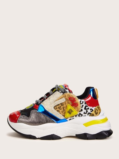 Animal Scarf Print Chunky Sneakers