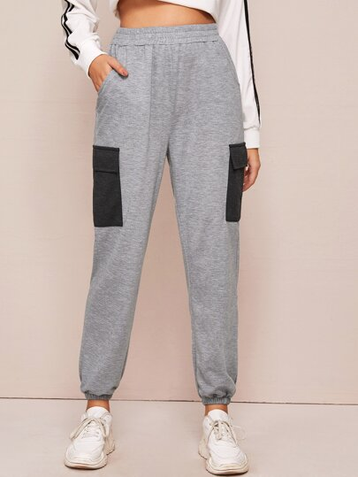 Contrast Flap Pocket Elastic Waist Sweatpants