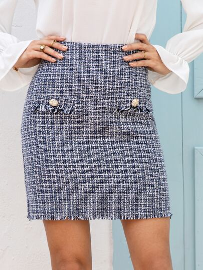 Frayed Edge Button Detail Tweed Skirt