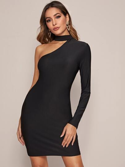 Solid Asymmetrical Neck Fitted Dress