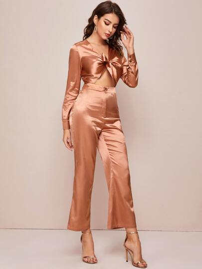 Solid Bow Front Satin Jumpsuit