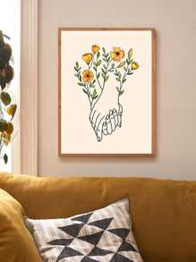 Hands With Floral Wall Print Without Frame